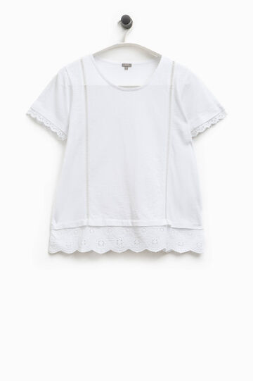 Smart Basic round neck T-shirt with lace