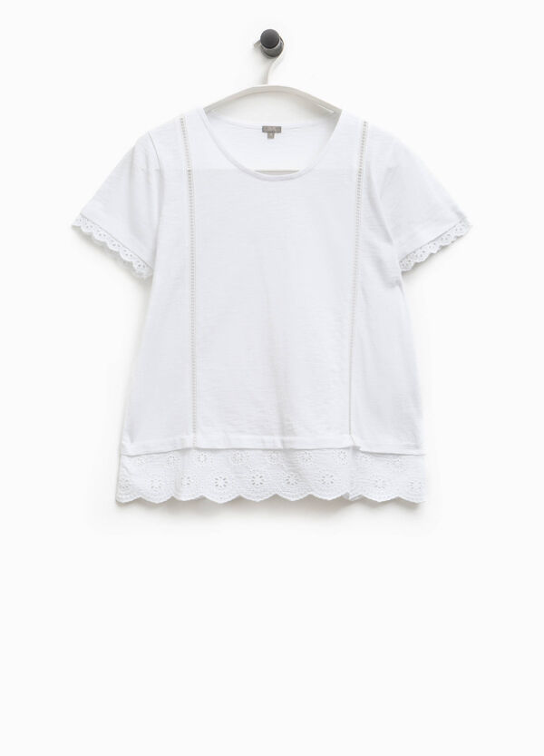 Smart Basic round neck T-shirt with lace | OVS