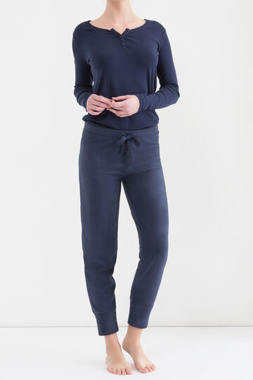 Pantaloni pigiama in pile, Blu navy, hi-res