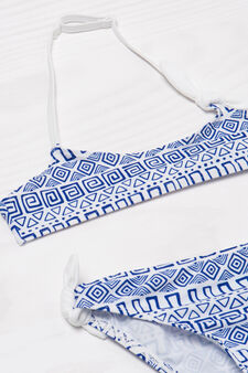 Patterned stretch bikini, Blue, hi-res