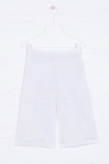 Pantaloni in cotone ricamo floreale