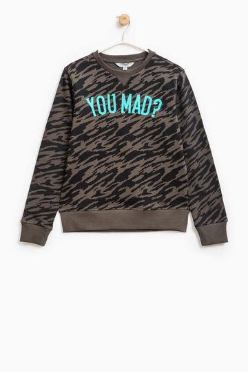 Cotton sweatshirt with camouflage pattern, Grey, hi-res