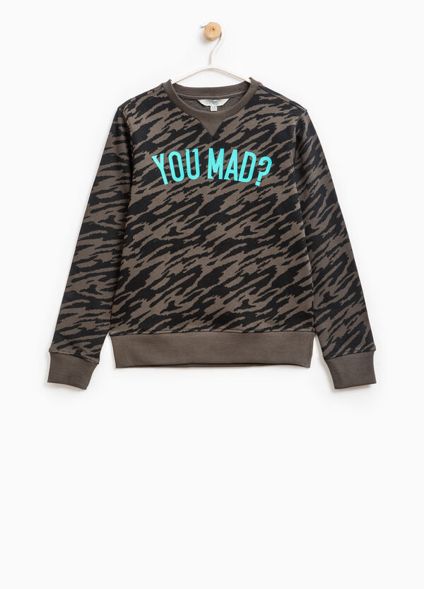 Cotton sweatshirt with camouflage pattern | OVS