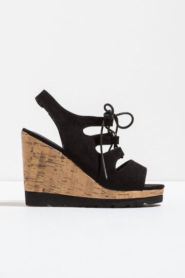 Sandals with cork-effect wedge