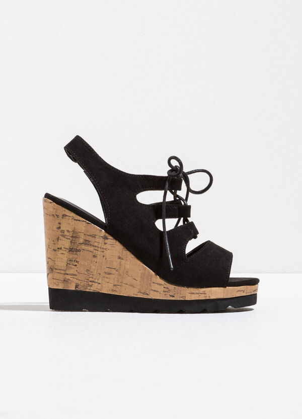 Sandals with cork-effect wedge | OVS