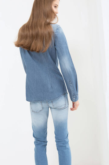 Denim blouse with faded effect, Blue, hi-res