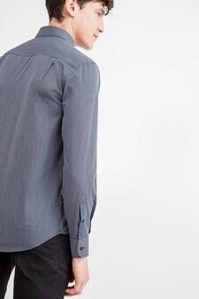 Camicia formale regular fit a righe, Blu scuro, hi-res