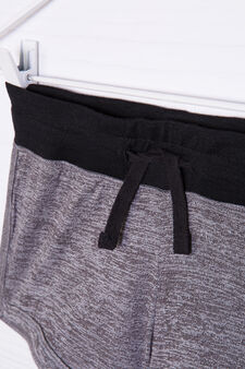 Viscose blend shorts with drawstring, Black/Grey, hi-res