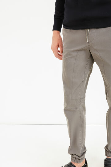 Jogger-fit stretch cotton trousers, Grey, hi-res