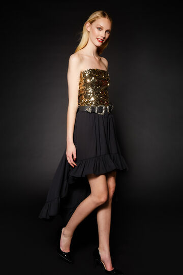 Sleeveless top with sequins, Golden Yellow, hi-res