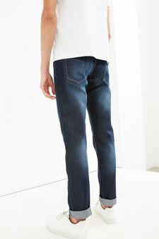 Slim-fit worn-effect jeans with whiskering, Dark Wash, hi-res