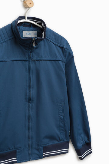 Solid colour cotton blend jacket, Blue, hi-res