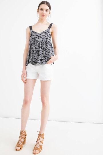 Denim shorts with fringe, White, hi-res