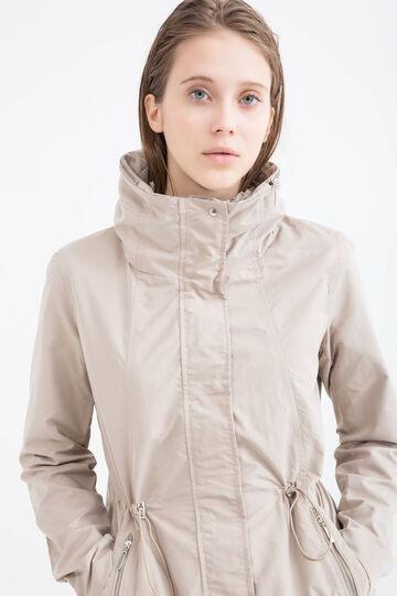 Solid colour parka with hood., Beige, hi-res