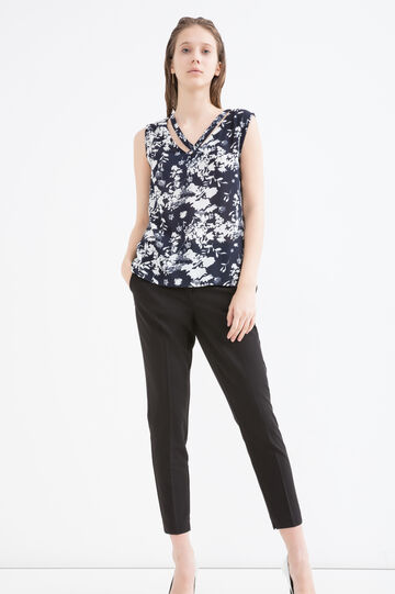 Patterned sleeveless blouse, Navy Blue, hi-res