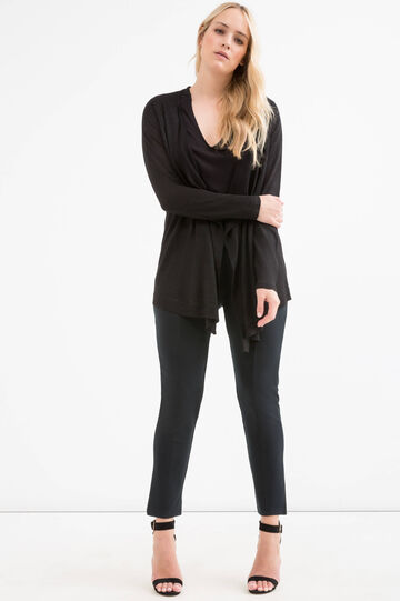 Curvy viscose blend lurex cardigan, Black, hi-res