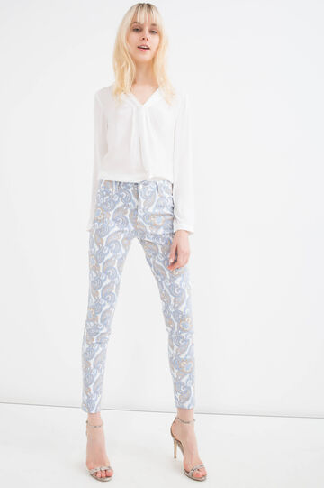 Stretch cotton blend trousers, White, hi-res