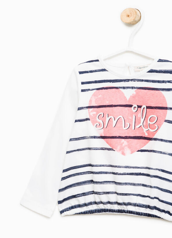 Stretch cotton T-shirt with maxi print | OVS
