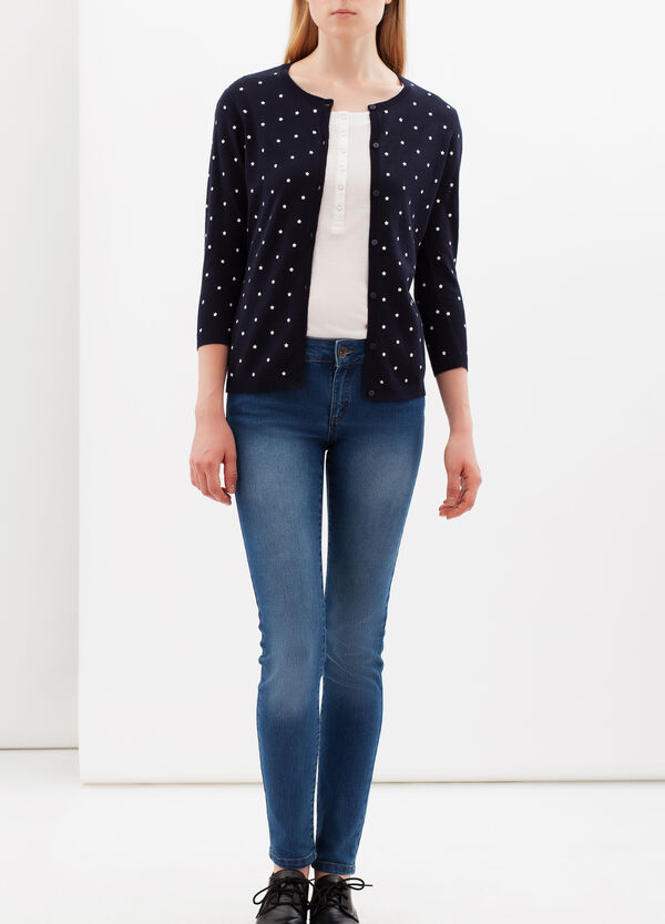 Printed cardigan with three-quarter sleeves. | OVS