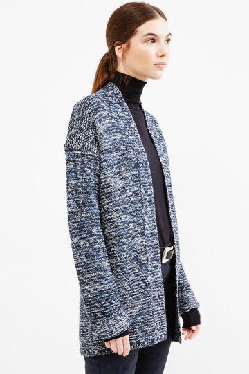 Mélange chunky knit cardigan, Denim Blue, hi-res
