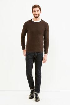 Crew neck pullover in silk and cashmere., Dark Brown, hi-res