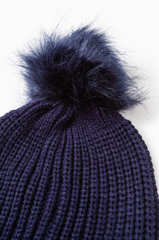 Beanie cap with fur pompom, Beige, hi-res