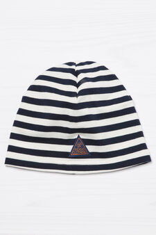 Patch striped beanie cap, White/Blue, hi-res