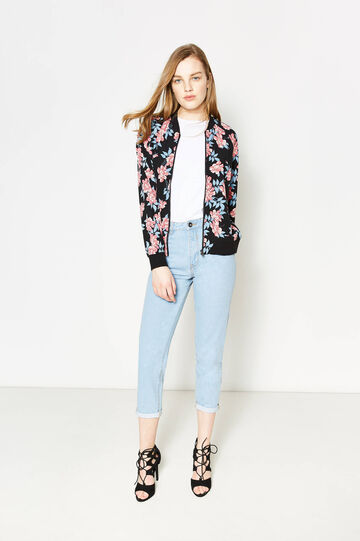 Mum-fit jeans with contrasting seams