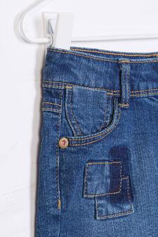 Denim shorts with frayed lower edge, Denim, hi-res