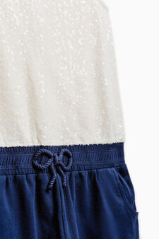 Stretch playsuit with sequins, White/Blue, hi-res