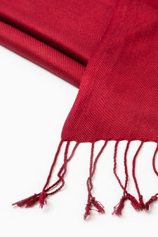 Twill pashmina with long fringes, Red, hi-res