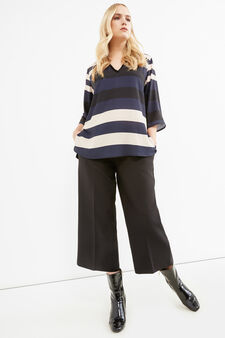 Curvy striped blouse in viscose blend, Black/Blue, hi-res