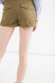 Shorts cotone stretch tasche, Verde oliva, hi-res