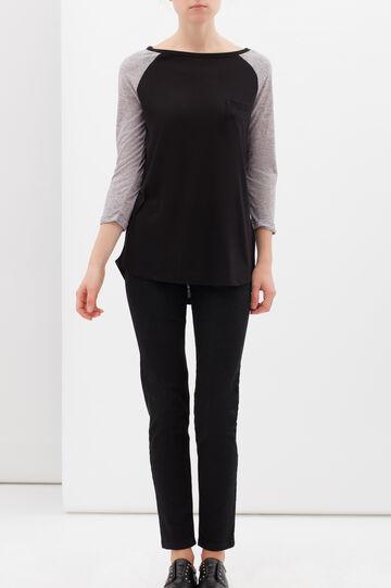 Oversize T-shirt in linen blend, Black, hi-res