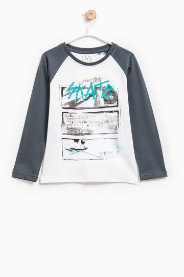 T-shirt con stampa e maniche lunghe, Bianco/Grigio, hi-res