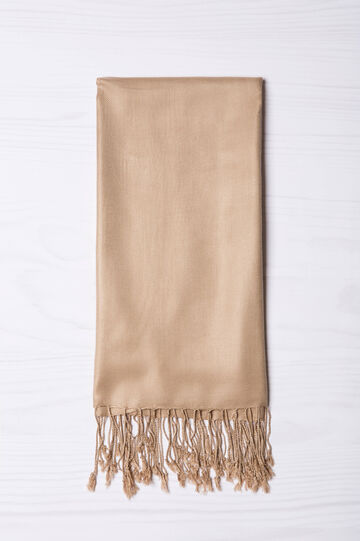 100% viscose pashmina with fringe, Beige, hi-res