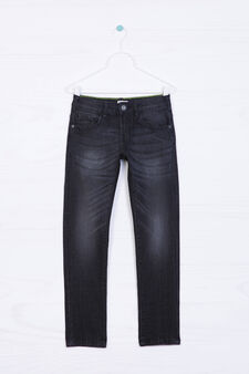 Jeans stretch straight fit, Nero, hi-res