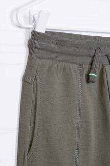 Solid colour cotton shorts, Green, hi-res