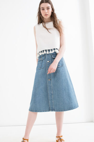 Denim skirt with pockets, Denim Blue, hi-res