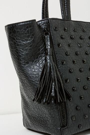 Shoulder bag with studs and tassels, Black, hi-res