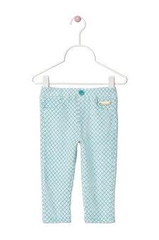 Pantaloni in velour stretch fantasia, Verde acqua, hi-res