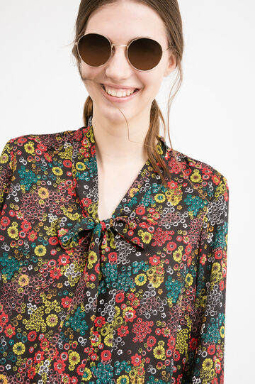 Blouse with bow and flower print, Black, hi-res