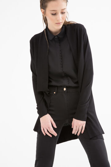 Long viscose blend cardigan, Black, hi-res