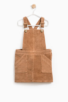 Pinafore dress in cotton corduroy, Camel, hi-res