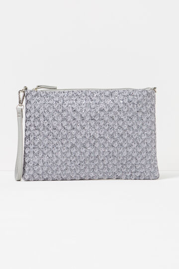 Glitter clutch bag with raised pattern, Grey, hi-res