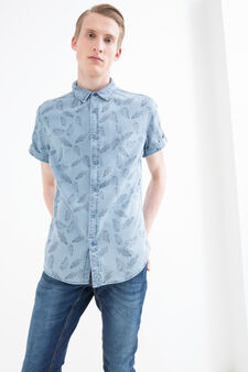 Slim-fit patterned shirt, Soft Blue, hi-res