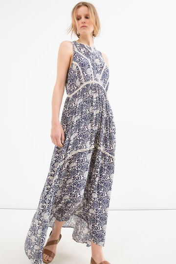 Patterned long dress in 100% viscose, Blue, hi-res