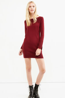 Viscose and cotton dress with ribbing, Aubergine, hi-res