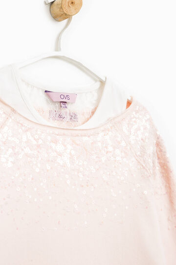 Sudadera en algodón 100% con lentejuelas, Rosa, hi-res