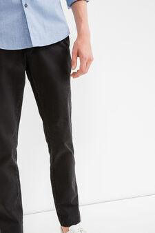 Slim fit, stretch cotton chino trousers, Black, hi-res